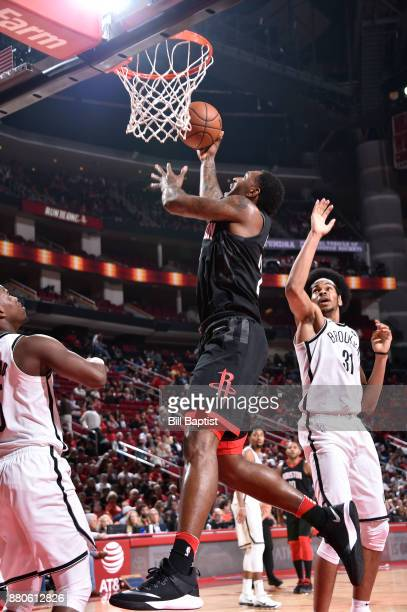 Tarik Black of the Houston Rockets shoots the ball against the Brooklyn Nets on November 27 2017 at the Toyota Center in Houston Texas NOTE TO USER...