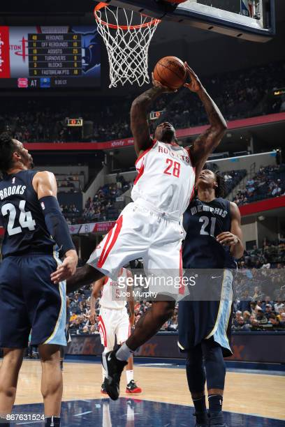 Tarik Black of the Houston Rockets shoots the ball against the Memphis Grizzlies on October 28 2017 at FedExForum in Memphis Tennessee NOTE TO USER...