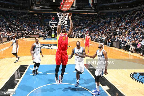 Tarik Black of the Houston Rockets shoots the ball against the Minnesota Timberwolves during the game on December 5 2014 at Target Center in...