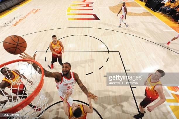 Tarik Black of the Houston Rockets shoots the ball against the Utah Jazz during Game Three of the Western Conference Semifinals of the 2018 NBA...