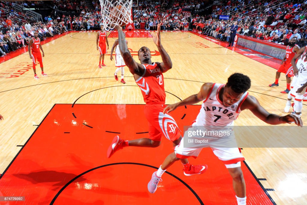 Tarik Black #28 of the Houston Rockets shoots the ball during the game against the Toronto Raptors on November 14, 2017 at the Toyota Center in Houston, Texas.
