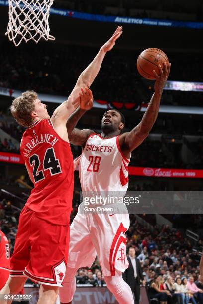 Tarik Black of the Houston Rockets shoots the ball during the game against the Chicago Bulls on January 8 2018 at the United Center in Chicago...