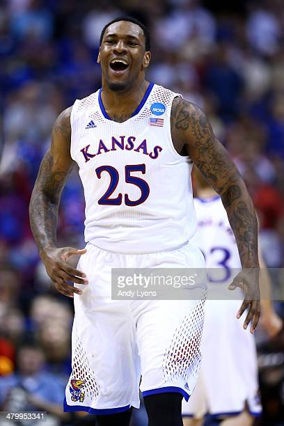 Tarik Black of the Kansas Jayhawks celebrates after defeating the Eastern Kentucky Colonels during the second round of the 2014 NCAA Men's Basketball...