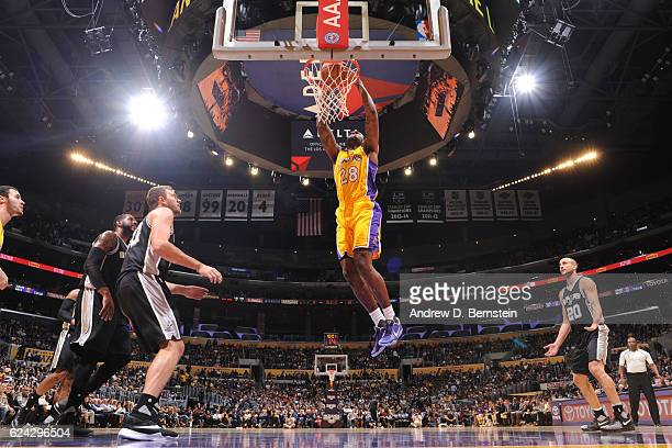 Tarik Black of the Los Angeles Lakers dunks against against the San Antonio Spurs on November 18 2016 at STAPLES Center in Los Angeles California...