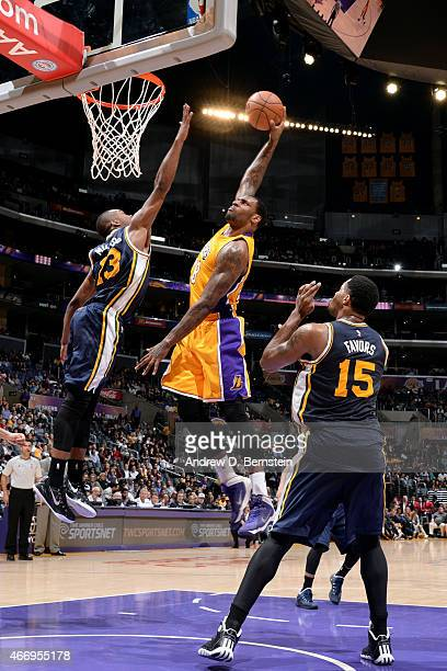 Tarik Black of the Los Angeles Lakers dunks against the Utah Jazz on March 19 2015 at STAPLES Center in Los Angeles California NOTE TO USER User...