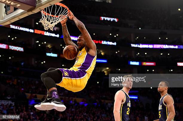 Tarik Black of the Los Angeles Lakers dunks the ball in the second half against the Utah Jazz at Staples Center on April 13 2016 in Los Angeles...