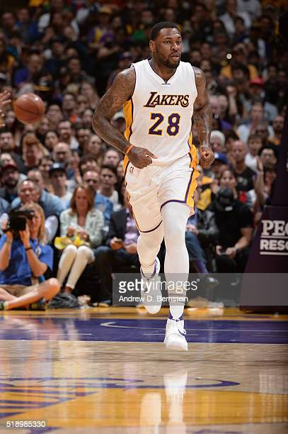Tarik Black of the Los Angeles Lakers during the game against the Boston Celtics on April 3 2016 at STAPLES Center in Los Angeles California NOTE TO...