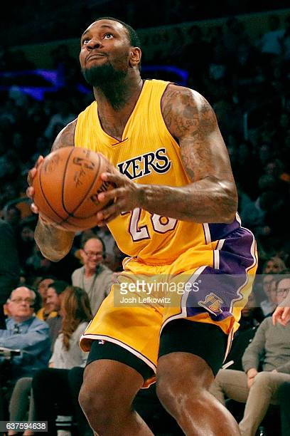 Tarik Black of the Los Angeles Lakers gets set to shoot the ball during a game against the Memphis Grizzlies at the Staples Center on January 3 2017...