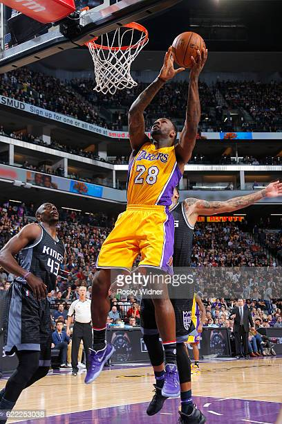 Tarik Black of the Los Angeles Lakers goes for the lay up during the game against the Sacramento Kings on November 10 2016 at Sleep Train Arena in...