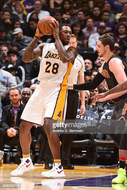 Tarik Black of the Los Angeles Lakers handles the ball against the Atlanta Hawks on November 27 2016 at STAPLES Center in Los Angeles California NOTE...