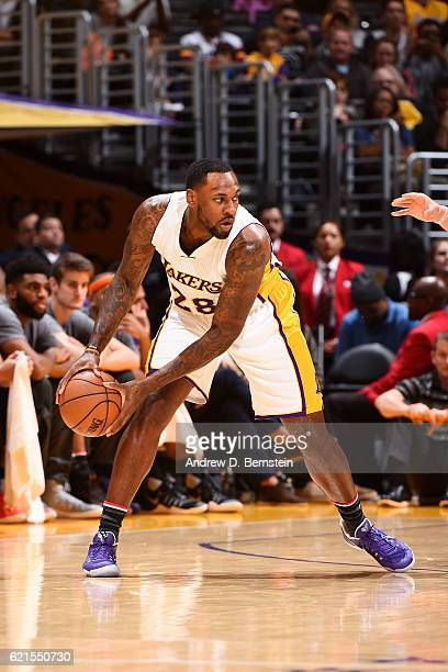 Tarik Black of the Los Angeles Lakers handles the ball during the game against the Phoenix Suns on November 6 2016 at STAPLES Center in Los Angeles...
