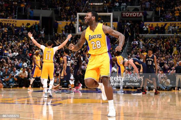 Tarik Black of the Los Angeles Lakers reacts during the game against the New Orleans Pelicans on April 11 2017 at STAPLES Center in Los Angeles...