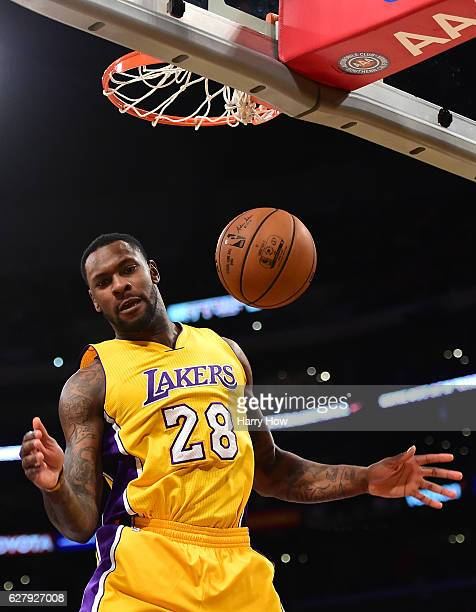 Tarik Black of the Los Angeles Lakers reacts to his dunk during the first half against the Utah Jazz at Staples Center on December 5 2016 in Los...