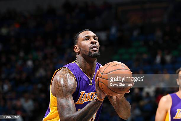 Tarik Black of the Los Angeles Lakers shoots a free throw during the game against the Minnesota Timberwolves on November 13 2016 at Target Center in...