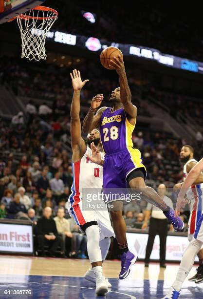 Tarik Black of the Los Angeles Lakers shoots a layup against the Detroit Pistons at the Palace of Auburn Hills on February 8 2017 in Auburn Hills...