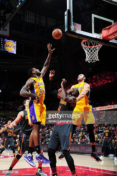 Tarik Black of the Los Angeles Lakers shoots the ball against the Atlanta Hawks on November 2 2016 at Philips Arena in Atlanta Georgia NOTE TO USER...