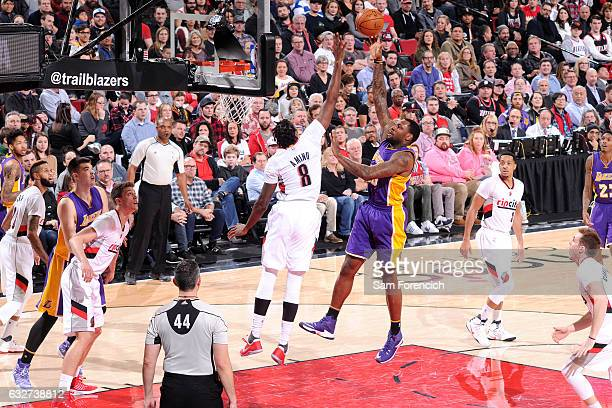Tarik Black of the Los Angeles Lakers shoots the ball during the game against the Portland Trail Blazers on January 25 2017 at the Moda Center in...
