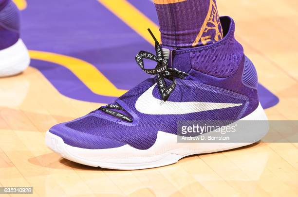 Tarik Black of the Los Angeles Lakers wears shoelaces that honor Martin Luther King Jr before a game against the Sacramento Kings on February 14 2017...