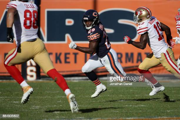 Tarik Cohen of the Chicago Bears carries a punt return toward the endzone resulting in a touchdown in the second quarter against the San Francisco...