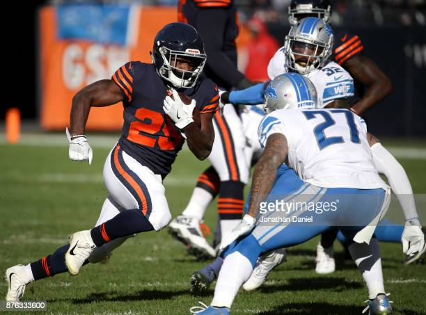 Tarik Cohen of the Chicago Bears carries the football against the Detroit Lions in the second quarter at Soldier Field on November 19 2017 in Chicago...