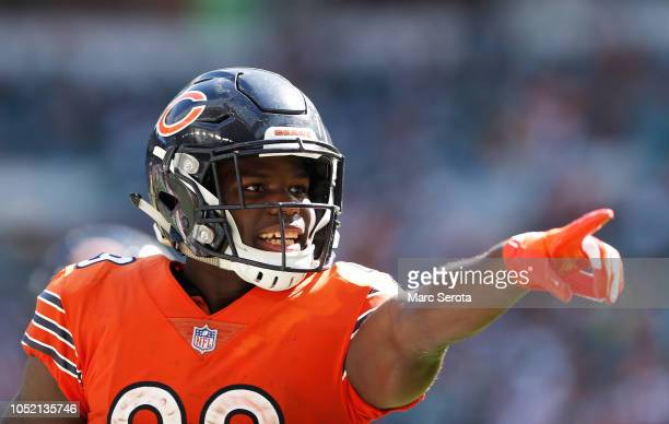 Tarik Cohen of the Chicago Bears celebrates a touchdown in the third quarter against the Miami Dolphins at Hard Rock Stadium on October 14 2018 in...