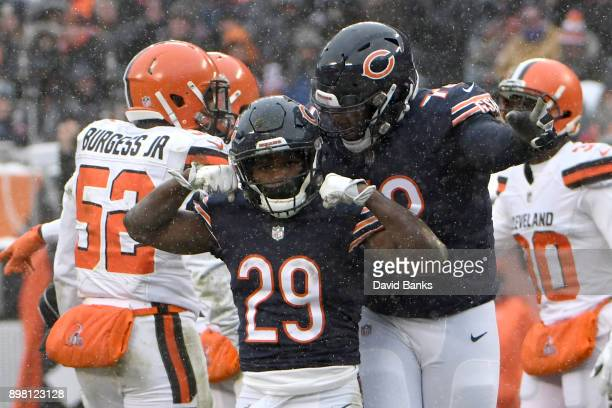 Tarik Cohen of the Chicago Bears celebrates after getting a first down in the third quarter against the Cleveland Browns at Soldier Field on December...