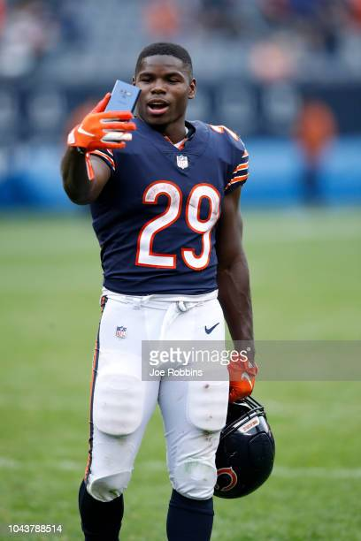 Tarik Cohen of the Chicago Bears celebrates defeating the Tampa Bay Buccaneers 4810 at Soldier Field on September 30 2018 in Chicago Illinois