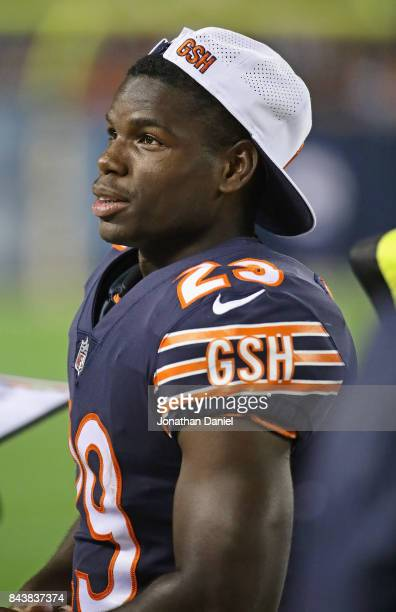 Tarik Cohen of the Chicago Bears is seen on the sidelines during a preseason game against the Cleveland Browns at Soldier Field on August 31 2017 in...