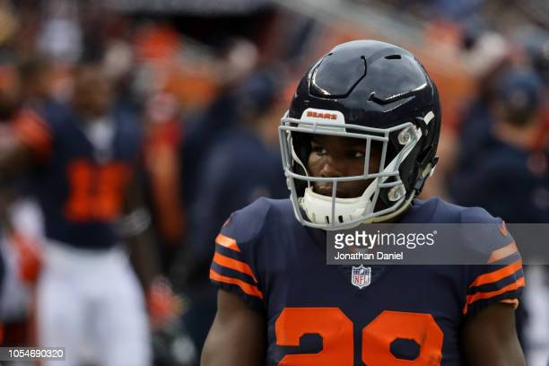 Tarik Cohen of the Chicago Bears looks on in the first quarter against the New York Jets at Soldier Field on October 28 2018 in Chicago Illinois