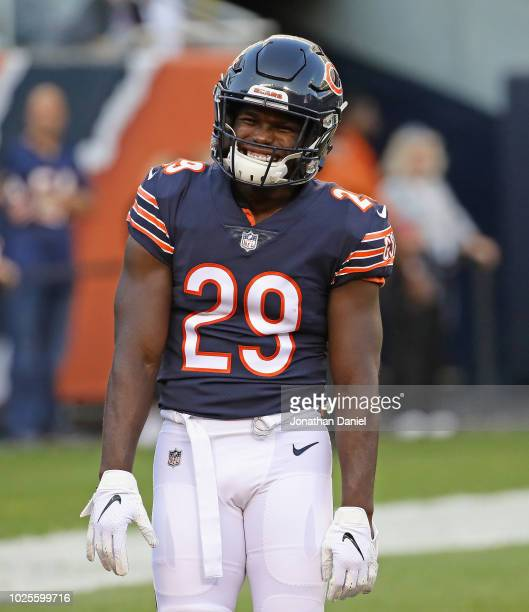 Tarik Cohen of the Chicago Bears participates in warmups before a preseason game against the Buffalo Bills at Soldier Field on August 30 2018 in...