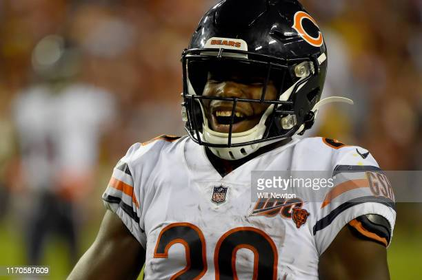 Tarik Cohen of the Chicago Bears reacts after a play against the Washington Redskins during the first half at FedExField on September 23 2019 in...