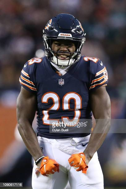 Tarik Cohen of the Chicago Bears reacts against the Philadelphia Eagles in the second quarter of the NFC Wild Card Playoff game at Soldier Field on...