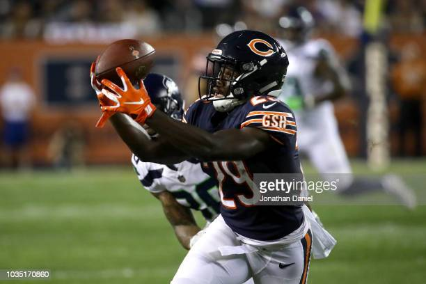 Tarik Cohen of the Chicago Bears receives a pass for a first down in the second quarter against the Seattle Seahawks at Soldier Field on September 17...