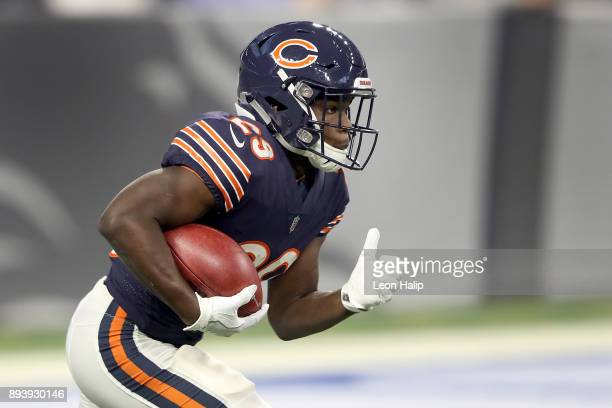 Tarik Cohen of the Chicago Bears returns a kickoff against the Detroit Lions during the first quarter at Ford Field on December 16 2017 in Detroit...