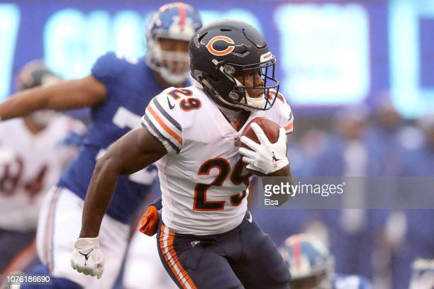 Tarik Cohen of the Chicago Bears returns a punt during the first quarter against the New York Giants at MetLife Stadium on December 02 2018 in East...