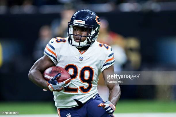 Tarik Cohen of the Chicago Bears runs the ball during a game against the New Orleans Saints at MercedesBenz Superdome on October 29 2017 in New...