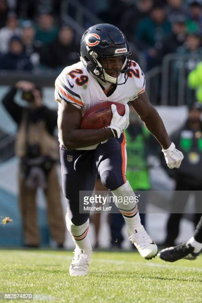 Tarik Cohen of the Chicago Bears runs with the ball against the Philadelphia Eagles at Lincoln Financial Field on November 26 2017 in Philadelphia...