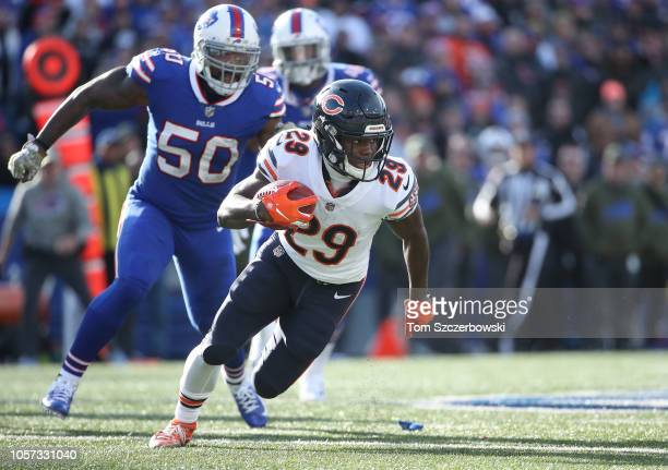 Tarik Cohen of the Chicago Bears runs with the ball in the second quarter during NFL game action against the Buffalo Bills at New Era Field on...