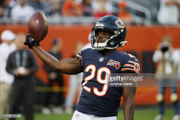 Tarik Cohen of the Chicago Bears warms up before the game against the Green Bay Packers at Soldier Field on September 05 2019 in Chicago Illinois
