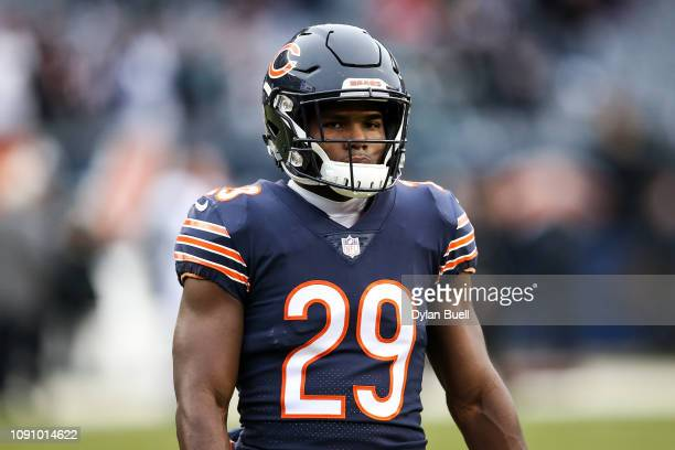 Tarik Cohen of the Chicago Bears warms up before the NFC Wild Card Playoff game against the Philadelphia Eagles at Soldier Field on January 06 2019...