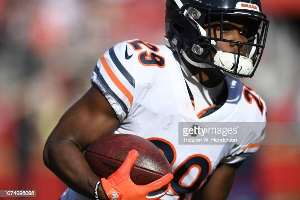Tarik Cohen of the Chicago Bears warms up prior to their game against the San Francisco 49ers at Levi's Stadium on December 23 2018 in Santa Clara...