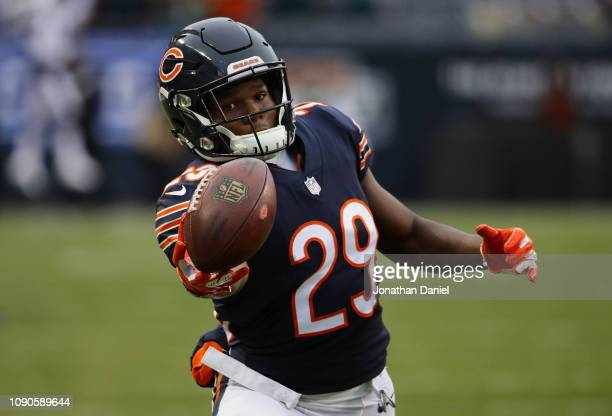 Tarik Cohen of the Chicago Bearswarms up prior to the NFC Wild Card Playoff game against the Philadelphia Eagles at Soldier Field on January 06 2019...