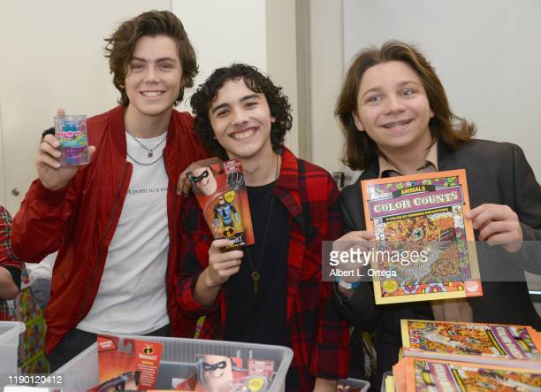 Tarik Ellinger Hunter Payton Mendoza and Bryson Robinson attend Project Hollywood Helpers held at the Skirball Cultural Center on November 16 2019 in...