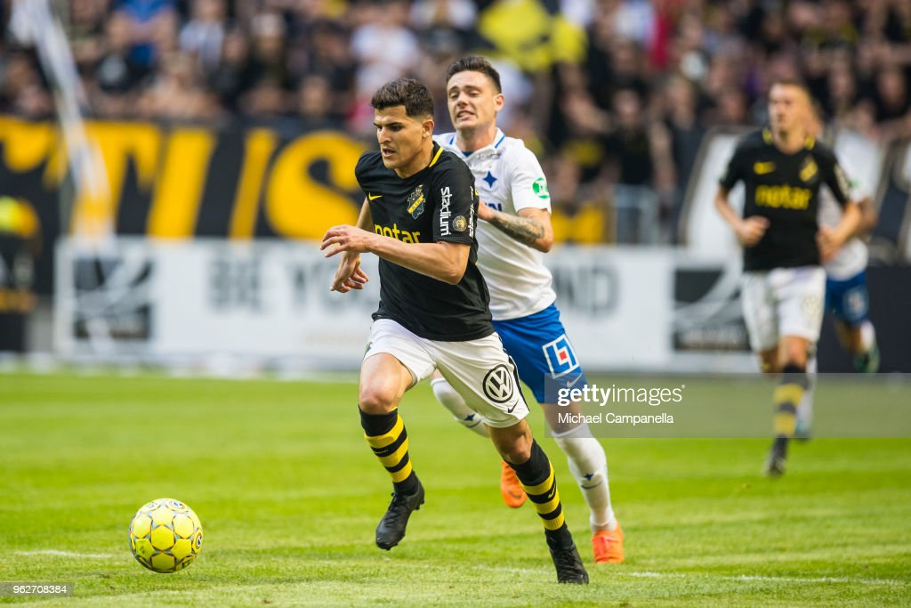 Tarik Elyounoussi Of AIK Runs With The Ball During An