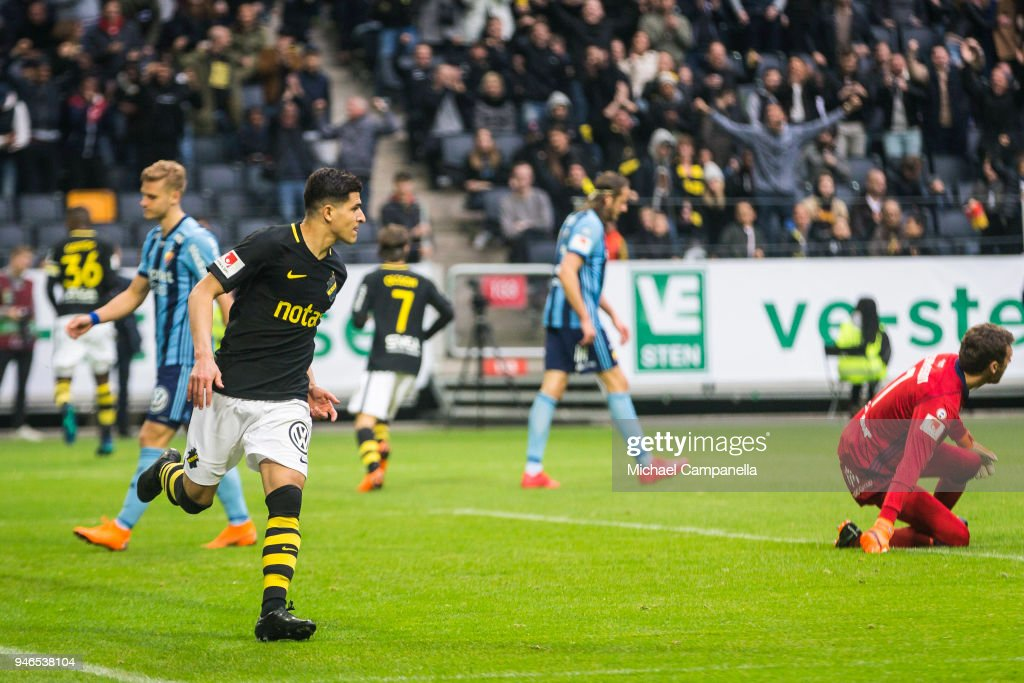 Tarik Elyounoussi Of AIK Scores The 2-0 Goal During An
