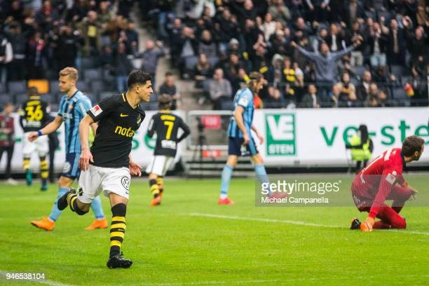Tarik Elyounoussi of AIK scores the 20 goal during an Allsvenskan match between AIK and Djurgardens IF at Friends arena on April 15 2018 in Solna...