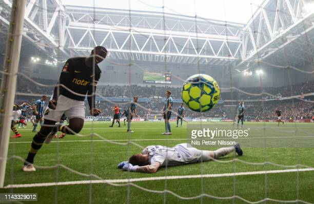 Tarik Elyounoussi of AIK scores the opening goal to 0-1 during the Allsvenskan match between Djurgardens IF and AIK at Tele2 Arena on May 12, 2019 in...