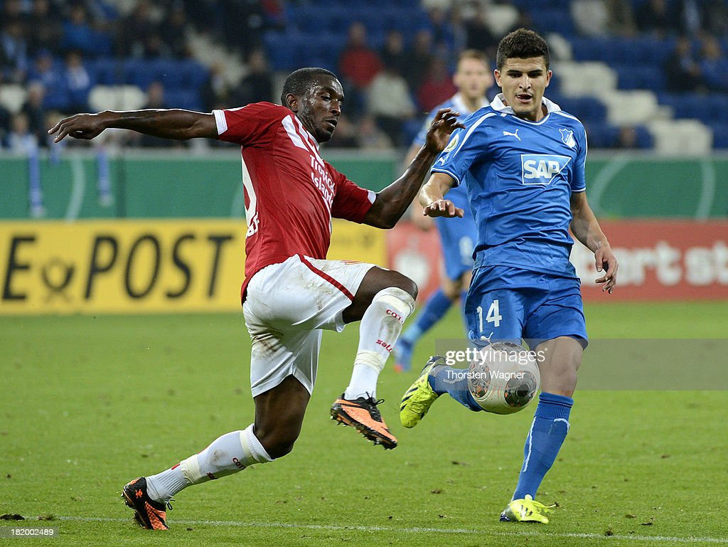 Tarik Elyounoussi Of Hoffenheim Battles For The Ball With