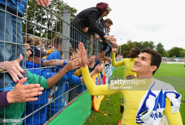 Tarik Elyounoussi Of Hoffenheim Celebrates With Fans After