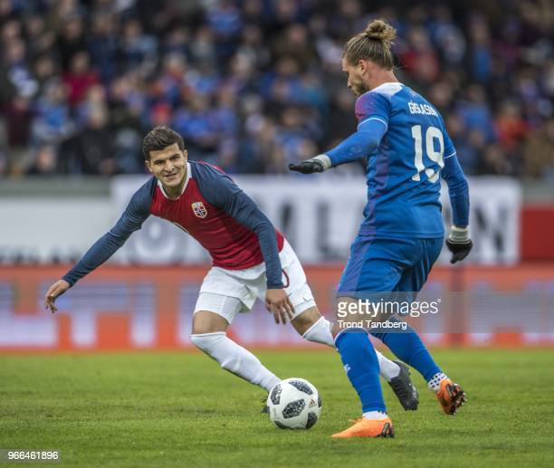 Tarik Elyounoussi of Norway during International Friendly between Iceland v Norway at Laugardalsvollur National Stadium on June 2 2018 in Reykjavik...